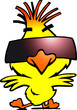 illustration of an smart dancer chicken with cool sunglass