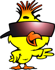 illustration of an smart chicken with cool sunglass