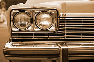 photo of retro car headlights