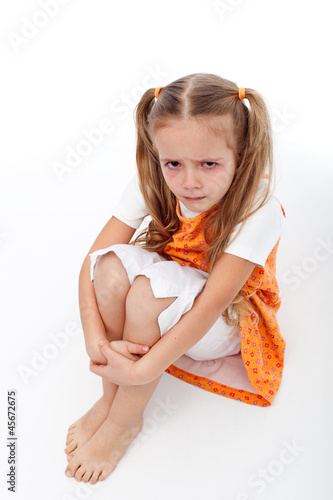 Extremely unhappy little girl sitting