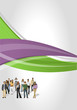 Green and purple template for brochure with business people
