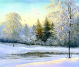 Fototapety beautiful winter landscape, canvas, oil
