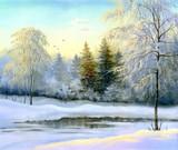 Fototapety beautiful winter landscape, canvas, oil