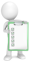 3D little human character holding green clipboard and check list