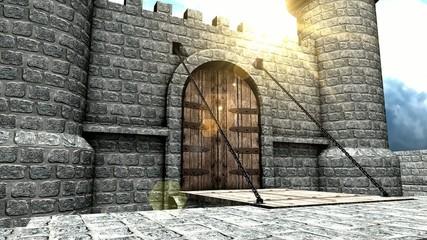 CG medieval castle drawbridge.