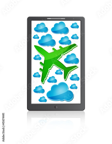 Mobile phone with airplane in the air with blue clouds