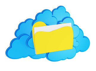 3d cloud computing icon with folder on a white background