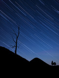 Night landscape with startrails