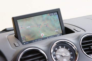 GPS system in dashboard over Spain