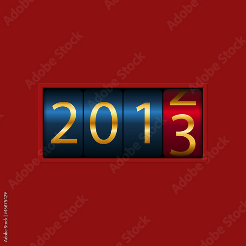 New Year counter, 2012, 2013, isolated