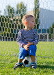 Little boy sitting on a soccer ball