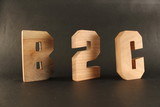 B2C text animation with wood letter version 3