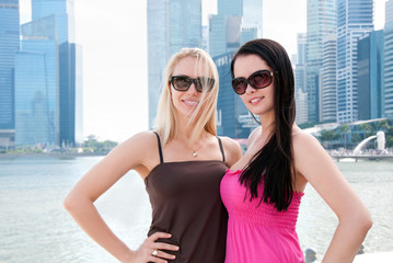 Two beautiful smiling women in Singapore