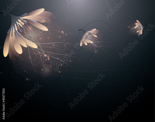 Abstract shining flowers / Enchanting floral background