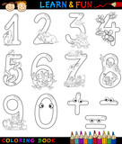 Fototapety numbers with cartoon animals for coloring