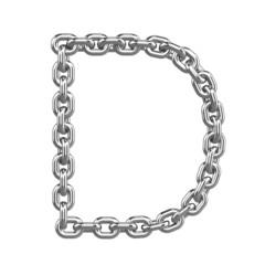 3d Chain Alphabet Font - D