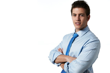 Young successful business man isolated white background with cop