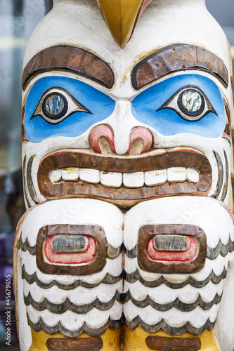 Colorful Inuit Totem in Alaska
