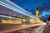Nocturne scene with Big Ben and House of Parliament behind light poster