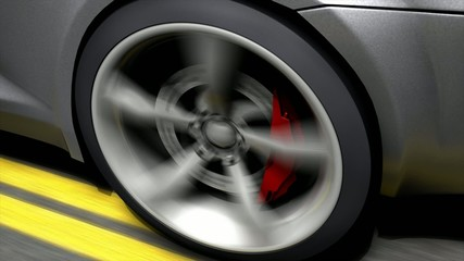 Automotive animation, close-up spinning rear car wheel