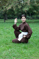 Woman practicing kung fu