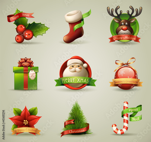Christmas icons collection, detailed illustration