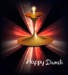 Happy diwali illuminating colorful diya stylish rays wave backgr