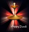 Happy diwali illuminating colorful diya stylish rays wave backgr