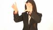 Businesswoman using interactive display