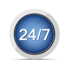 24/7 customer service web blue button