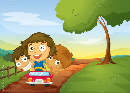 Foto op Canvas Boerderij kids and car