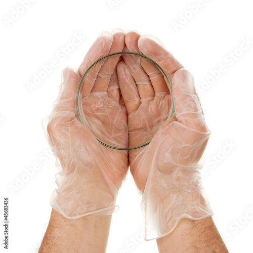 Petri dish in hands isolated