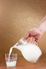 Hand pouring milk from jug to glass