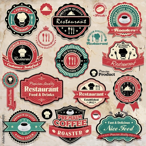Vintage retro grunge coffee and restaurant labels icons
