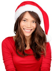Christmas girl wearing santa hat