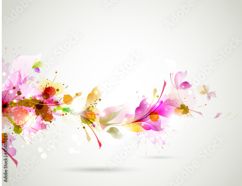 Abstract background with branch of floral