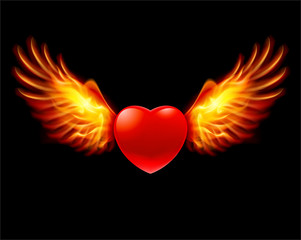 Heart in fiery wings