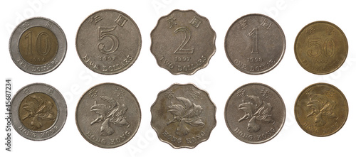 Hong Kong Coins Isolated on White