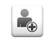 Boton cuadrado blanco simbolo añadir usuario