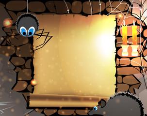 Old parchment in a dark dungeon