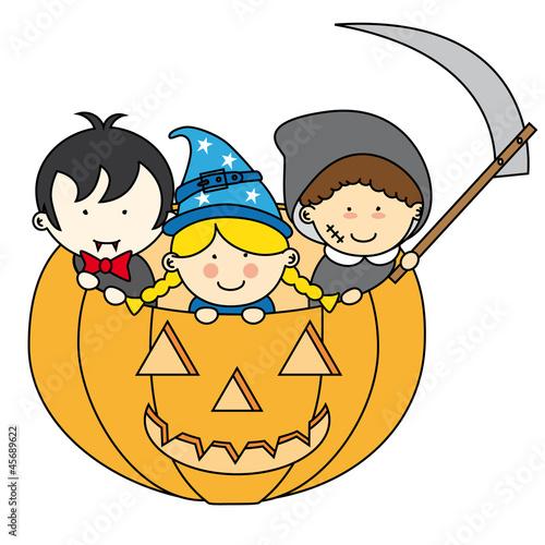 Ni os disfrazados para halloween dentro de una calabaza - Calabazas halloween originales para ninos ...
