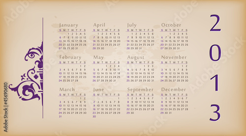 Retro design calendar for 2013.
