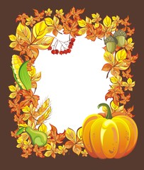Vector autumn frame with fall leaf, pumpkin, acorn and ashberry