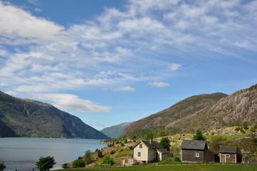 Schöner Blick auf das Akrafjord in Norwegen