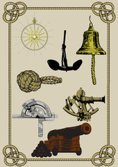 set of ancient naval supplies and tools