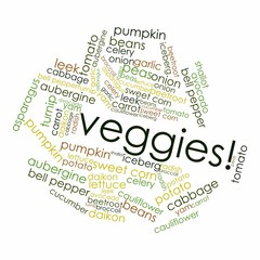 "Word cloud for ""veggies"""