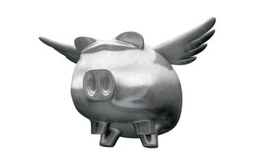 Pig Flying Metal Charm