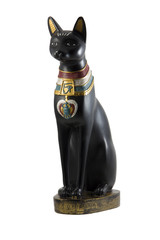 Black egyptian cat figurine isolated