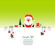Card Sitting Christmas Santa & Symbols Light Green