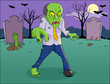 Cartoon illustration of a zombie on graveyard